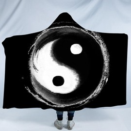 Black and White Taiji Yin Yang Pattern 3D Printing Polyester Hooded Blanket