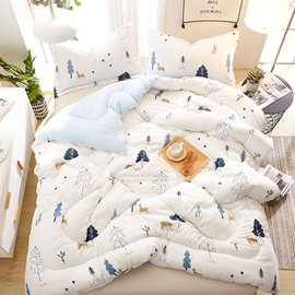 Tree and Bear Printed White Quilting Polyester Winter Quilt