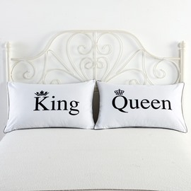 King and Queen Printed White Couple Pillowcase for Valentine's Gift