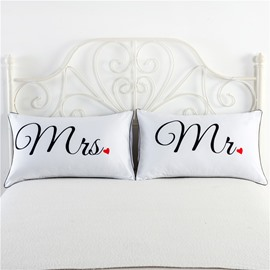 Mrs and Mr Printed Valentine's Gifts Couple Pillowcases