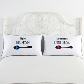 Big Spoon and Little Spoon Printed Valentine's Gifts Couple Pillowcases