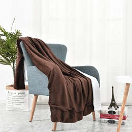Coffee and White Double Flannel and Berber Fleece Blanket