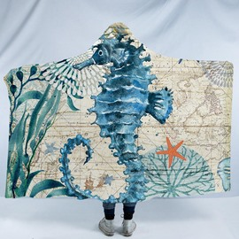Turquoise Sea Horse Printed Ocean Theme 3D Polyester Hooded Blanket