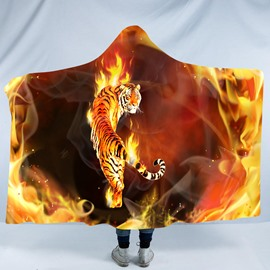 Powerful Tiger with Fire 3D Printing Polyester Hooded Blanket