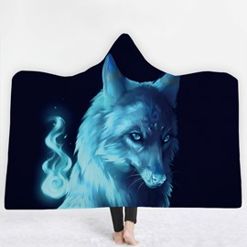 Fluorescent Blue Wolf 3D Printing Polyester Hooded Blanket