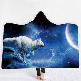 White Wolf and Moon Blue 3D Printing Polyester Hooded Blanket