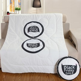 Black and White Cat Theme Printed Quilt Dual-Use Throw Pillow