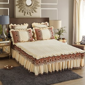 Ivory White Warm Crystal Velvet Embroidery Exquisite Quilting Bed Skirt