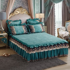 Emerald Green Embroidery Lace Crystal Velvet Bed Skirt