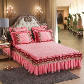Sweet Pink Heat Preservation Crystal Velvet Exquisite Quilting Bed Skirt