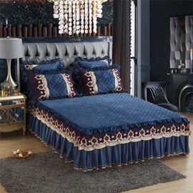 Dark Blue Exquisite Quilting Crystal Velvet Embroidery Bed Skirt