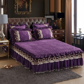 Elegant Purple Exquisite Quilting Crystal Velvet Lace Bed Skirt