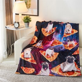 Bulldog Pizza and Galaxy 3D Printed Polyester Blanket