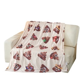 Poo Shit Emoticons Printed 3D Blanket for Bed Couch Sofa