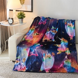 Rainbow Cats and Galaxy Printed 3D Polyester Blanket