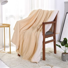 Simple Solid Style Acrylic Warm White Fluffy Blanket