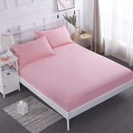 Solid Pink Mattress Protector Breathable Waterproof Fitted Sheet