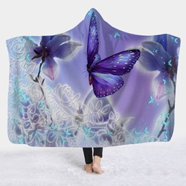 Purple Butterfly Printed Winter TV Computer Throwing 3D Hooded Blanket