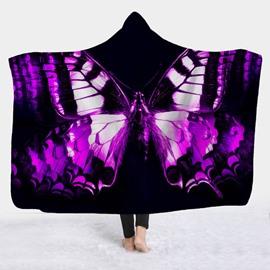 Fantastic Butterfly Printed Wearable 3D Fleece Hooded Blanket