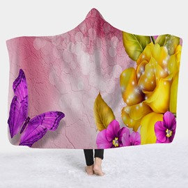 Butterfly Printed Super Soft Fleece 3D Hooded Blanket