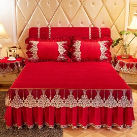 Solid Style Red Lace Ruffle Style Crystal Velvet Bed Skirt