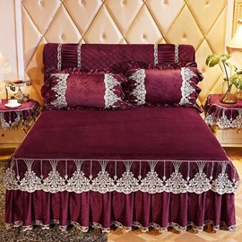 Lace Ruffle Design Burgundy Crystal Velvet Bed Skirt