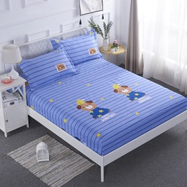 Cartoon Bear Blue Stripes Printed TPU Waterproof Breathable Fitted Sheet