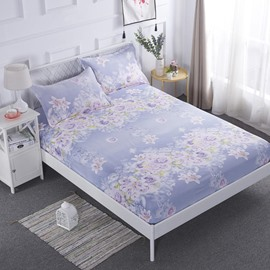 Light Purple Lily Printed TPU Waterproof Breathable Fitted Sheet