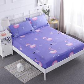 Flamingo Printed Purple TPU Waterproof Breathable Hypoallergenic Fitted Sheet