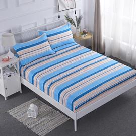 Blue Stripes Geometric Pattern Waterproof Breathable Fitted Sheet
