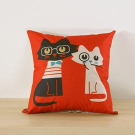 Black and White Cat Printed Decorative Cushion Square Throw Pillow