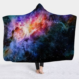 Spiral Expanse Planet Galaxy Printed Wearable 3D Hooded Blanket
