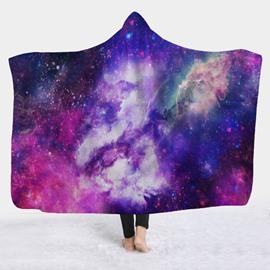Purple Space Galaxy Soft Warm Wearable 3D Hooded Blanket