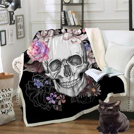 Soft Double Thickened Velvet Skull Printed 3D Blanket