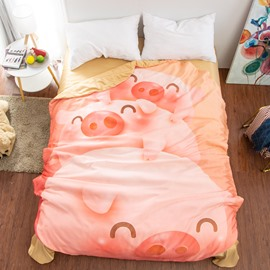 Pink Pigs Shaped 3D Animal Washable Light Summer Quilt