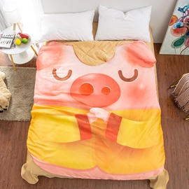 Pink Cute Pig Shaped 3D Washable Light Summer Quilt