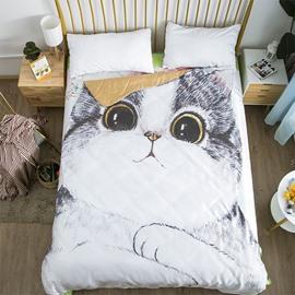 Cartoon Fat Cat 3D Printed Animal Summer Quilt
