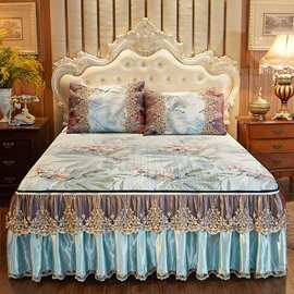 Detachable And Fine-grained European Style 3-Piece Cotton Lace Bed Skirt Ice Mat Sets