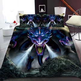 Angry Purple Dragon 3D Printed Polyester 1-Piece Warm Quilt