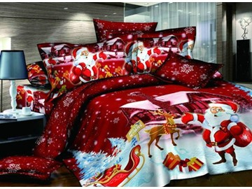US Only Christmas Gift Cotton Happy Red Santa Claus 4 Piece Duvet Cover Sets Colorfast Wear-resistant Endurable Skin-friendly All-Season Ultra-soft Microfiber No-fading