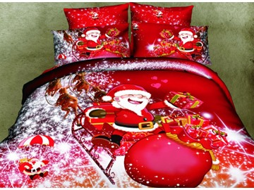 3D Santa and Christmas Gift Printed Cotton 4-Piece Red Bedding Sets/Duvet Covers