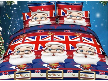 Father Christmas and Union Jack 4-Piece Cotton Duvet Cover Sets