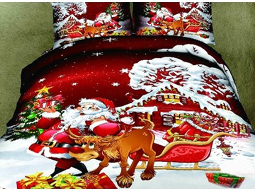 3D Santa and Reindeer Printed Cotton 4-Piece Bedding Sets/Duvet Covers