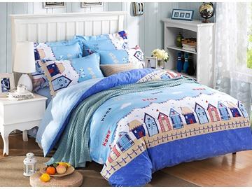 Little House Print Blue 4-Piece Duvet Cover Sets