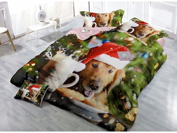Pup Wearing Christmas Hat Wear-resistant Breathable High Quality 60s Cotton 4-Piece 3D Bedding Sets