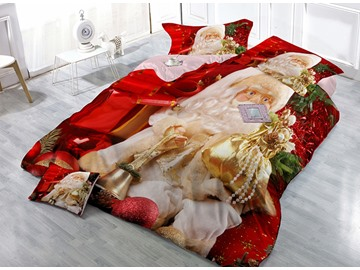 Gracious Father Christmas Carrying Gift Print Red 4-Piece Christmas Duvet Cover Sets