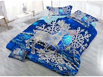 Reindeer Blue Snowflake Wear-resistant Breathable High Quality 60s Cotton 4-Piece 3D Bedding Sets
