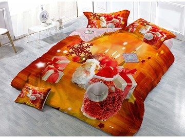 Christmas Gift Sheep and Candles Wear-resistant Breathable High Quality 60s Cotton 4-Piece 3D Bedding Sets