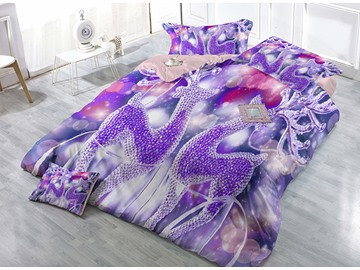 Dreamlike Purple Reindeer Wear-resistant Breathable High Quality 60s Cotton 4-Piece 3D Bedding Sets