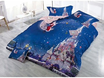 Santa Claus Sitting on Moon Castle Print Christmas 4-Piece Blue Duvet Cover Sets